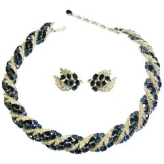 A sapphire and clear paste necklace and earrings, A. Philippe for Trifari, 1950s