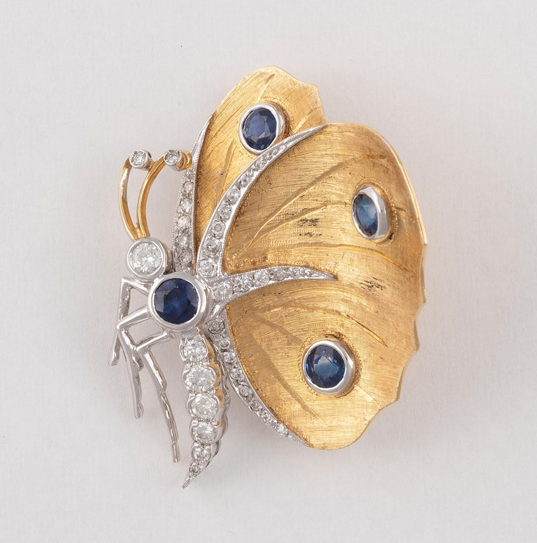 Retro Sapphire and Diamond Butterfly Brooch For Sale