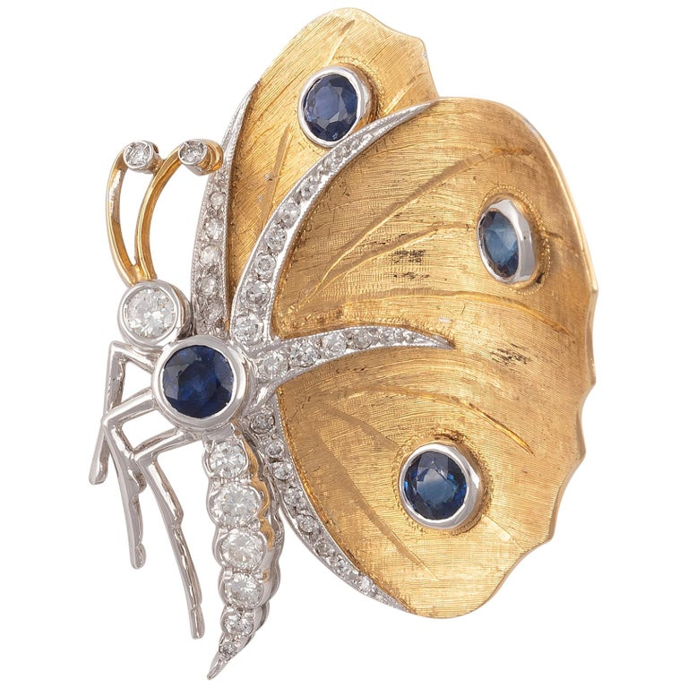 Sapphire and Diamond Butterfly Brooch For Sale
