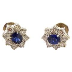 Sapphire and Diamond Ear Stud Mounted in 18 Karat Gold