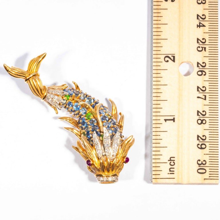Sapphire and Diamond Fish Clip Brooch by Jean Schlumberger, Tiffany & Co. For Sale 5