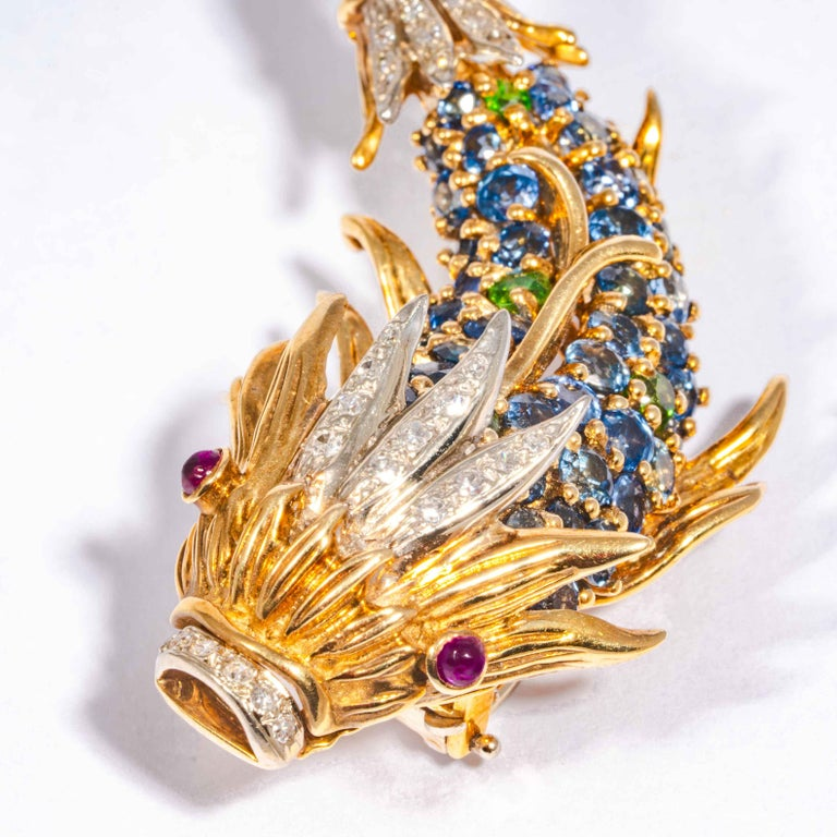 Brilliant Cut Sapphire and Diamond Fish Clip Brooch by Jean Schlumberger, Tiffany & Co. For Sale