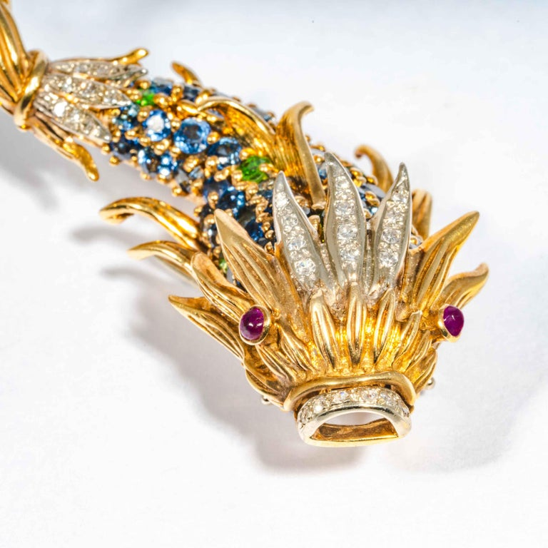 Women's or Men's Sapphire and Diamond Fish Clip Brooch by Jean Schlumberger, Tiffany & Co. For Sale