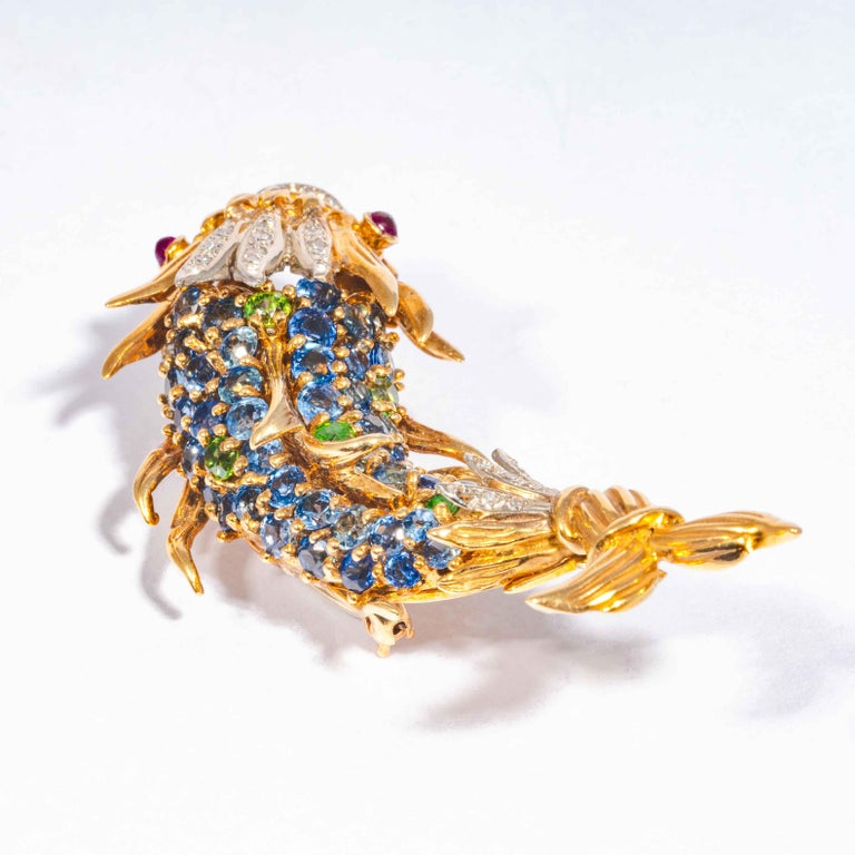 Sapphire and Diamond Fish Clip Brooch by Jean Schlumberger, Tiffany & Co. For Sale 1