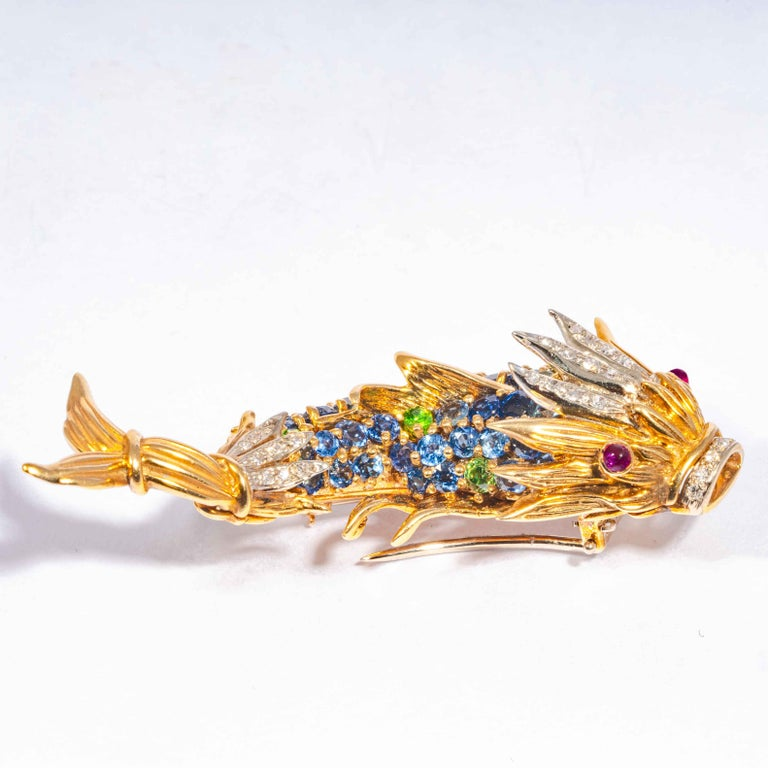 Sapphire and Diamond Fish Clip Brooch by Jean Schlumberger, Tiffany & Co. For Sale 2