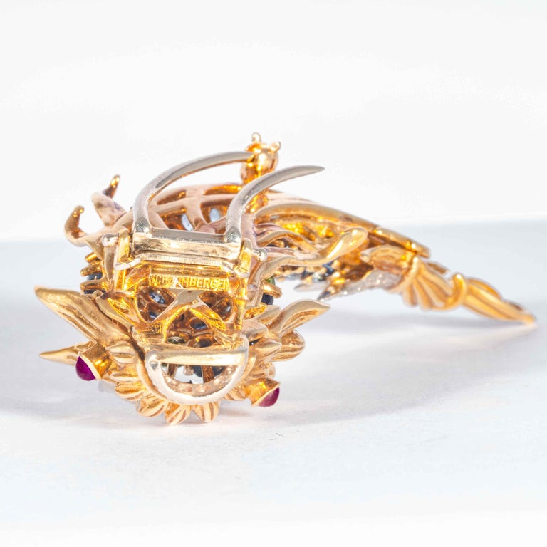 Sapphire and Diamond Fish Clip Brooch by Jean Schlumberger, Tiffany & Co. For Sale 3