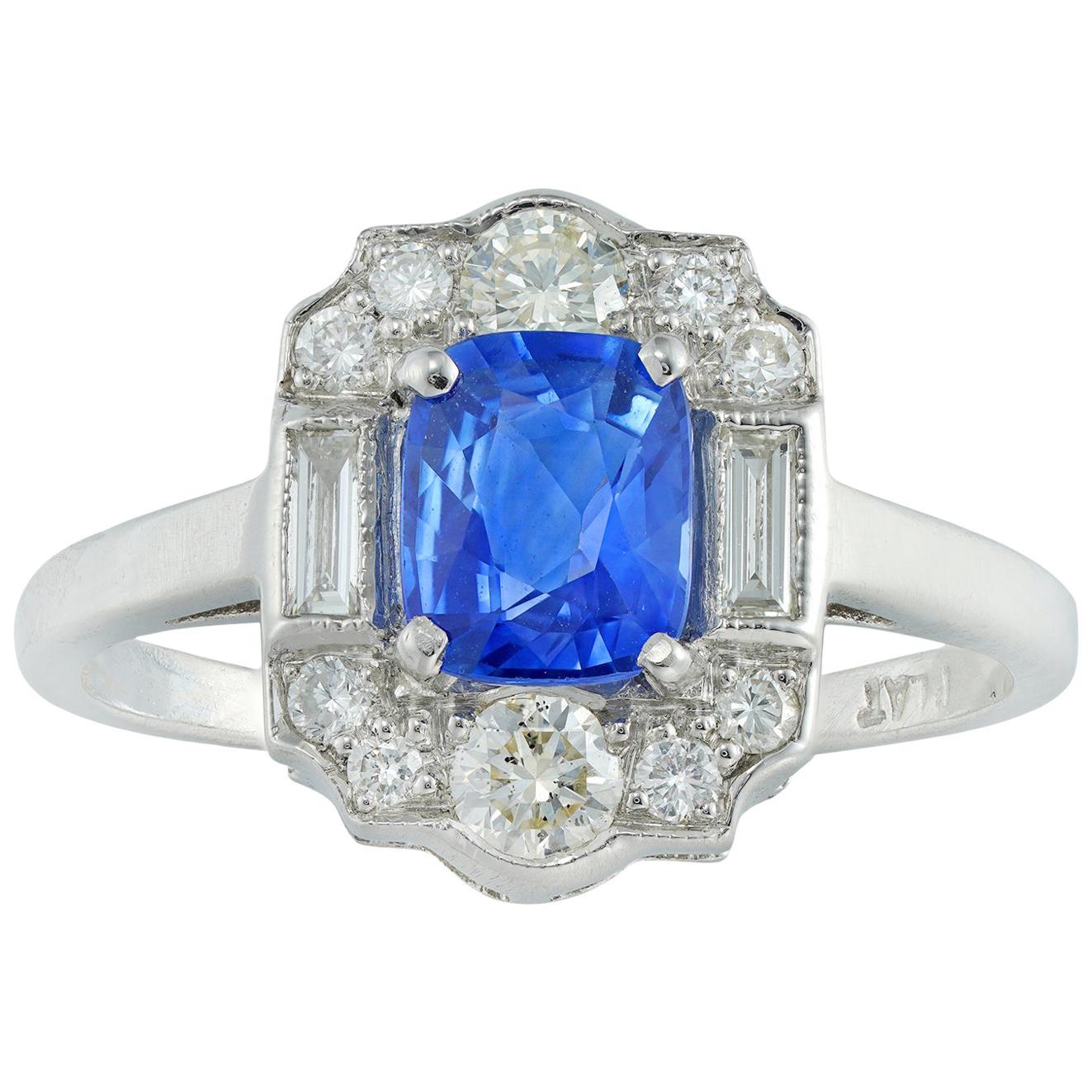 Sapphire and Diamond Plaque Ring