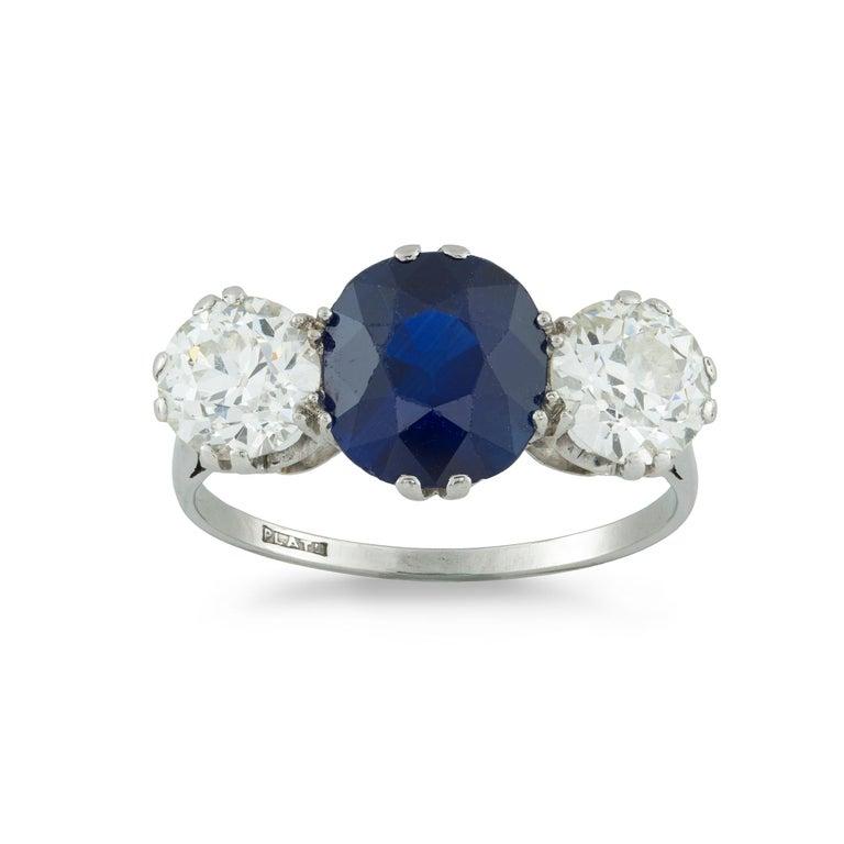 Art Deco Sapphire and Diamond Three-Stone Ring For Sale