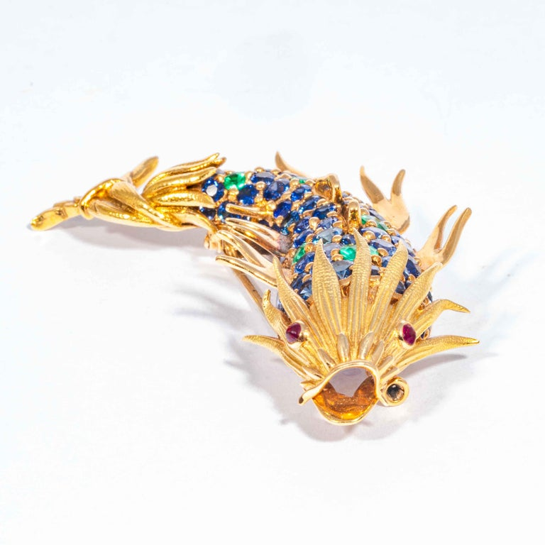 Brilliant Cut Sapphire and Emerald Fish Clip Brooch by Jean Schlumberger, Tiffany & Co. For Sale