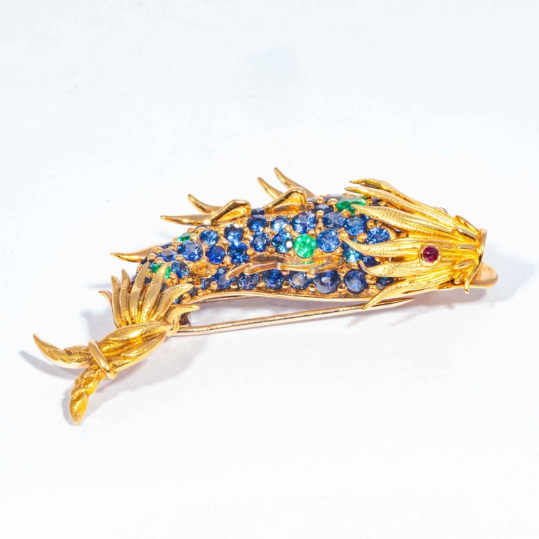 Women's or Men's Sapphire and Emerald Fish Clip Brooch by Jean Schlumberger, Tiffany & Co. For Sale