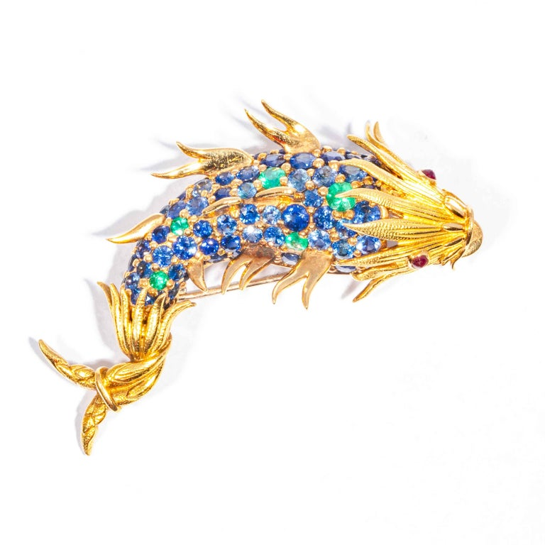 Sapphire and Emerald Fish Clip Brooch by Jean Schlumberger, Tiffany & Co. For Sale 1