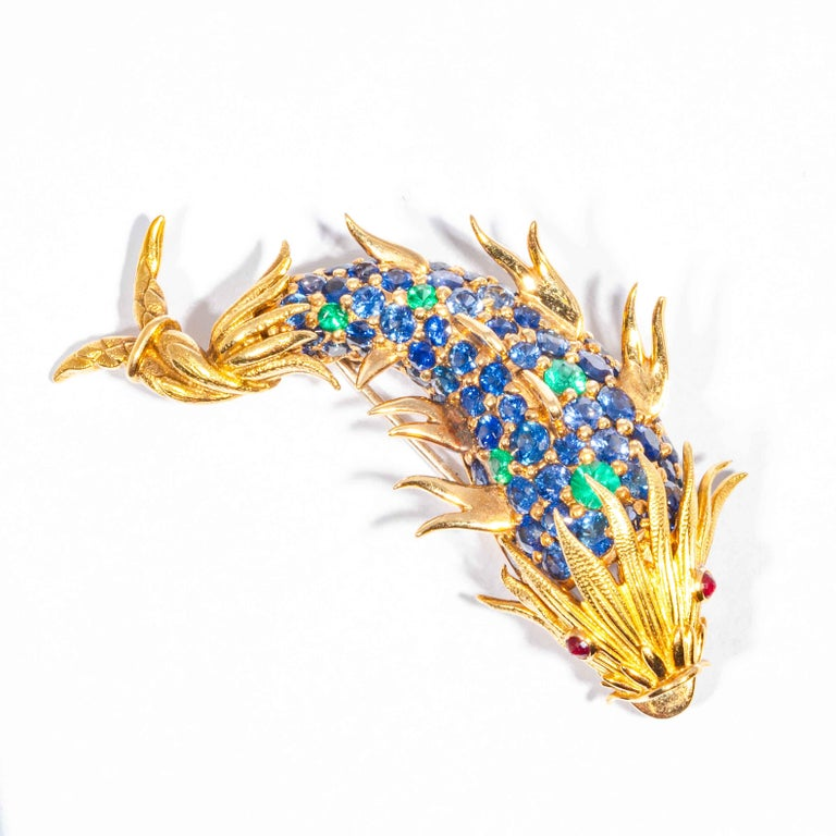 Sapphire and Emerald Fish Clip Brooch by Jean Schlumberger, Tiffany & Co. For Sale 2