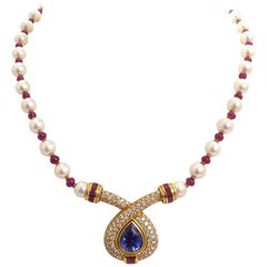 Sapphire, Ruby, Diamond and Cultured Pearl Necklace in 18 Karat Yellow Gold