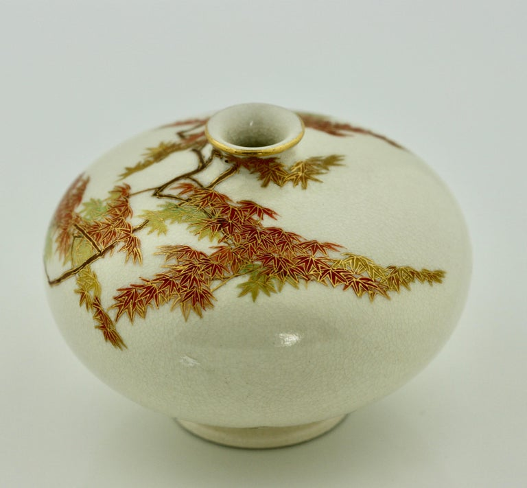 Satsuma Earthenware Flat Shouldered Ovoid Vase, Garlic Mouth by Yabu Meizan In Good Condition For Sale In Palm Beach, FL