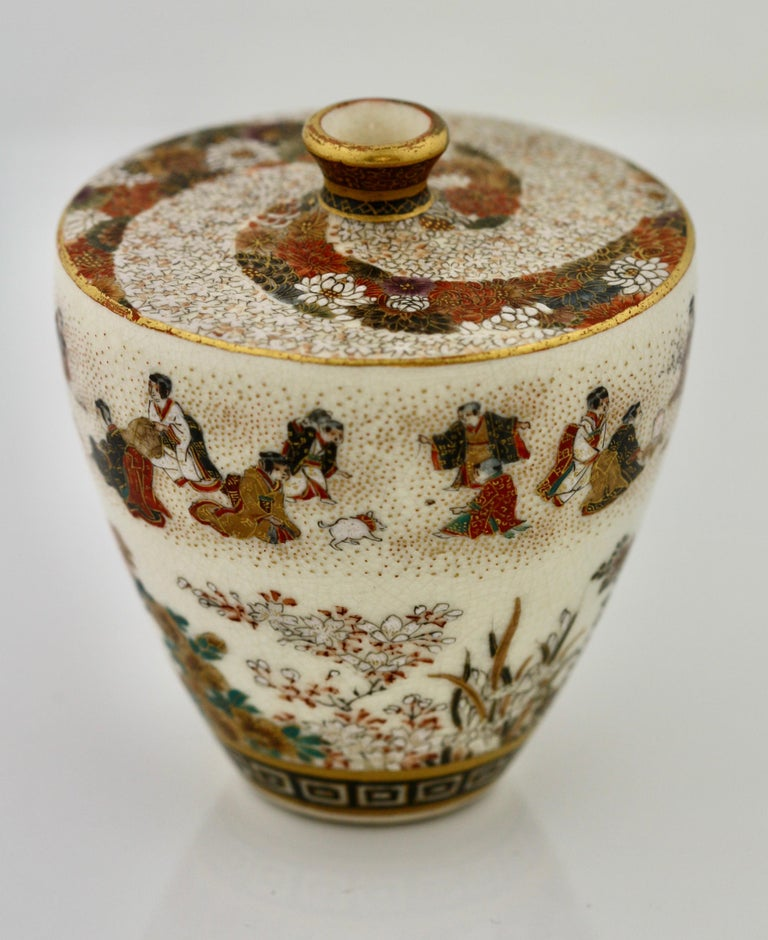 Late 19th Century Satsuma Earthenware Flat Shouldered Ovoid Vase, Garlic Mouth by Yabu Meizan For Sale