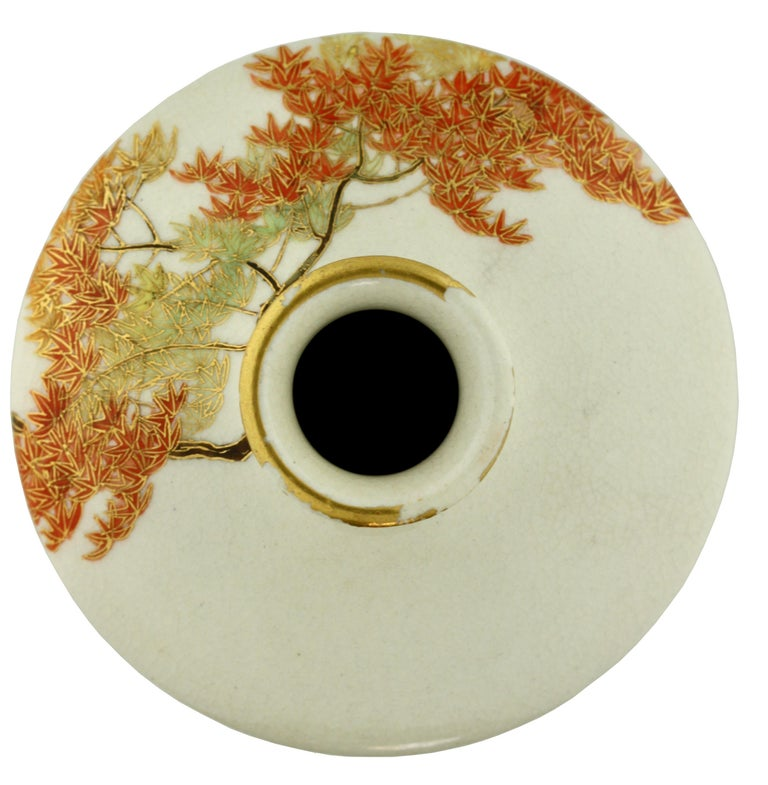 Enamel Satsuma Tapering Cylindrical Square High-Shouldered Vase by Yabu Meizan For Sale