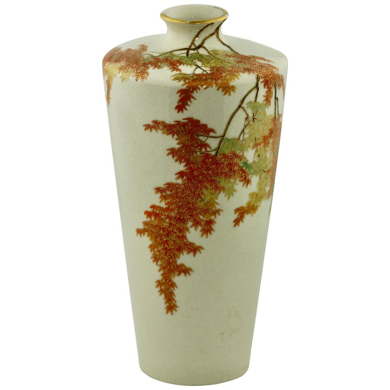 Satsuma Tapering Cylindrical Square High-Shouldered Vase by Yabu Meizan For Sale