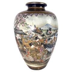 A Satsuma Vase, Meiji Period Signed Shuzan