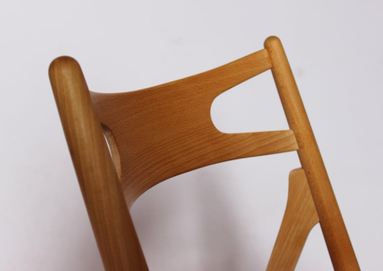 Leather Sawbuck Chair, Model CH29, in Beech by Hans J. Wegner, 1970s For Sale