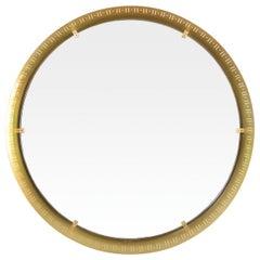 Scandinavian Modern, Round Polished Brass Mirror with Cutouts