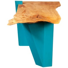 Sculptural Caribbean Blue Base with Live Edge Figured Maple Top End/Side Table