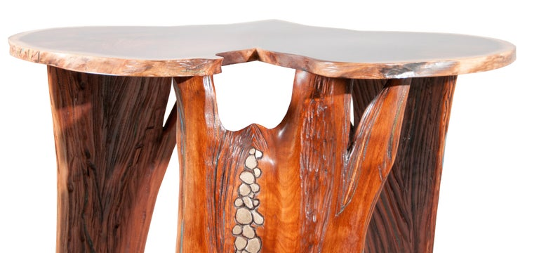Organic Modern Sculptural Live Edge Walnut Occasional Table with Gilded and Carved Elements For Sale