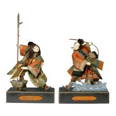 Sculptural Pair of Kabuki Actors on Stage
