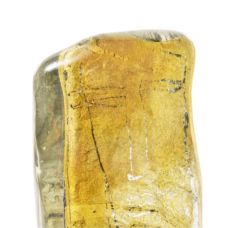 Sculpture in Murano Blown Glass Clear and Gold Italian Design by Luigi Benzoni In Good Condition For Sale In London, GB