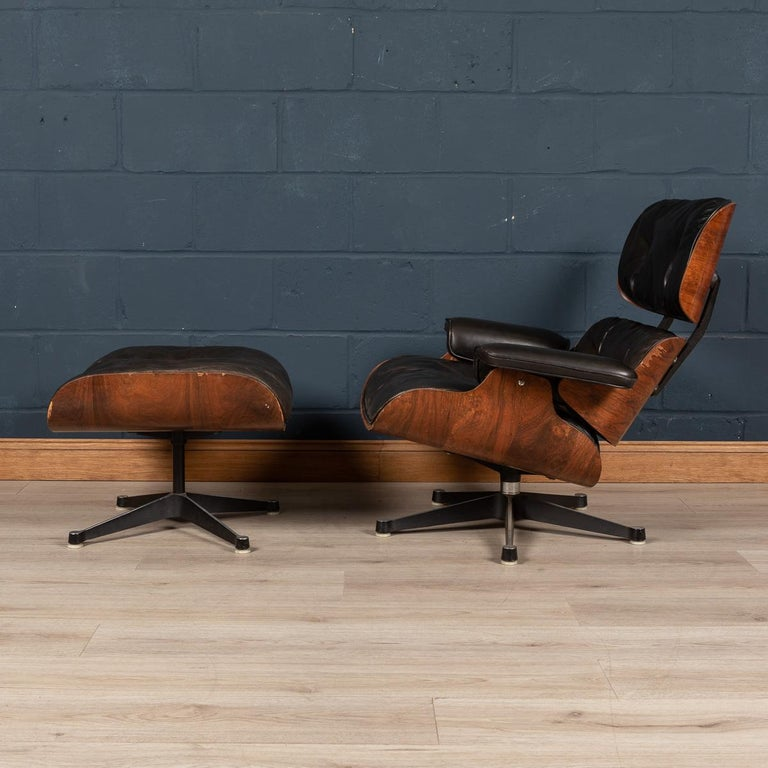 The Eames lounge chair and ottoman are furnishings made of molded plywood and leather, designed by Charles and Ray Eames for the Herman Miller furniture company. They are officially titled Eames Lounge