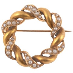 Seed-Pearl and Gold Brooch Edwardian