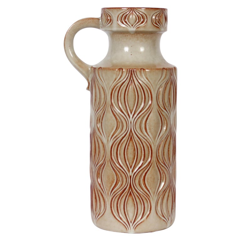 "A. Seide for Scheurich ""Fat Lava"" Incised Ceramic Two-Tone Jug Vase For Sale"