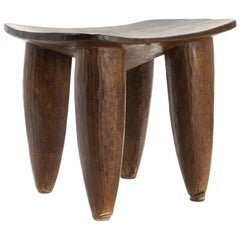 Senufu African Four-Legged Hand Carved Stool