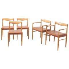 Set Dinning Chairs in Oak by H.W. Klein