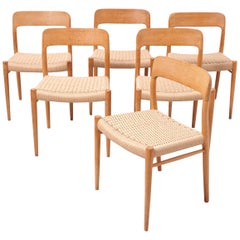 Set Oak Chairs with New Papercord by Niels O. Møller
