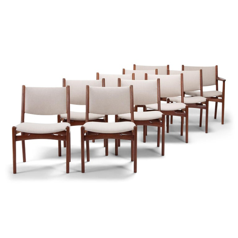 Hand-Crafted Set of 10 Chairs by Hans Wegner, Made by Cabinetmaker Johannes Hansen For Sale