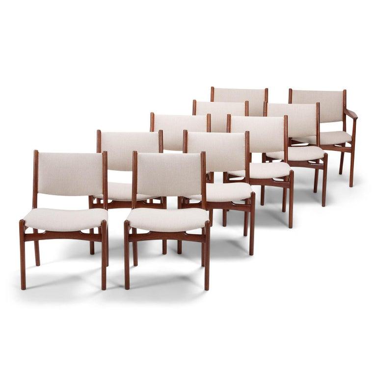 Set of 10 Chairs by Hans Wegner, Made by Cabinetmaker Johannes Hansen In Good Condition For Sale In Copenhagen, DK