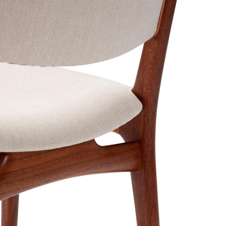 Linen Set of 10 Chairs by Hans Wegner, Made by Cabinetmaker Johannes Hansen For Sale
