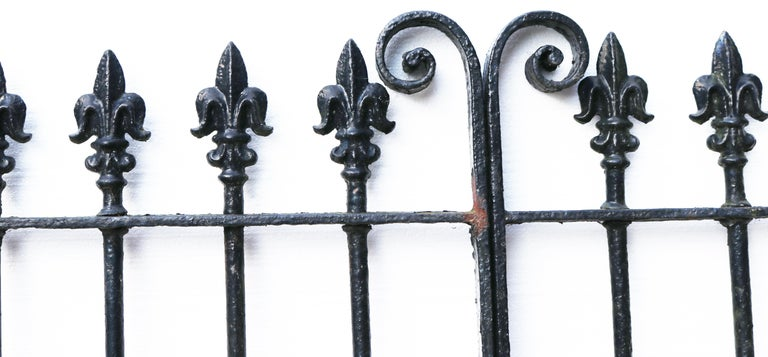 A set of reclaimed mid-Victorian wrought iron driveway gates salvaged from a house near Ipswich. We currently have two sets of the gates available.  Additional dimensions   For an opening of approximately 311 cm (10'2?)  Condition