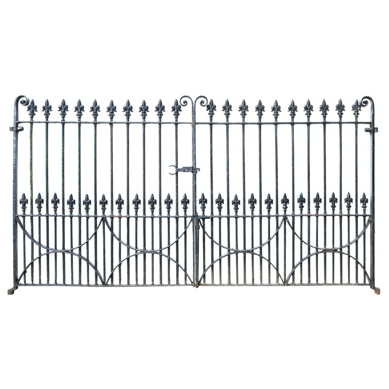 Set of Antique Wrought Iron Driveway Gates 'Two Sets Available' For Sale