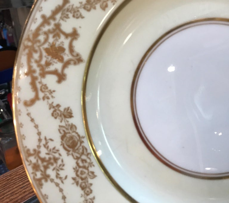 Edwardian Set of 10 Luncheon Dessert Plates by George Jones, England For Sale