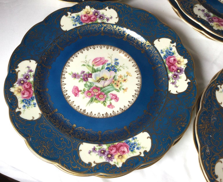 Mid-20th Century Set of 12 Elaborate Service Dinner Plates For Sale