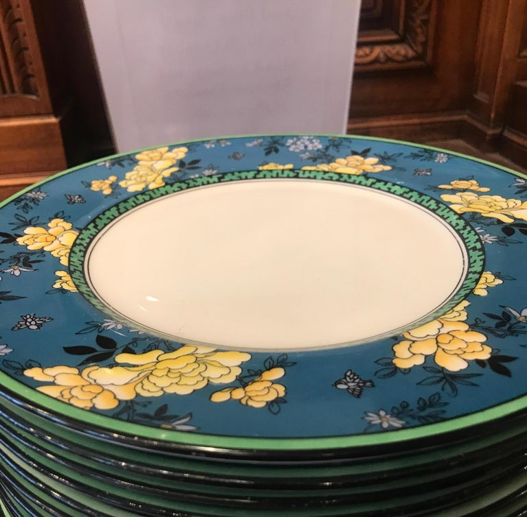 Hand-Painted Set of 12 English Deco Plates For Sale