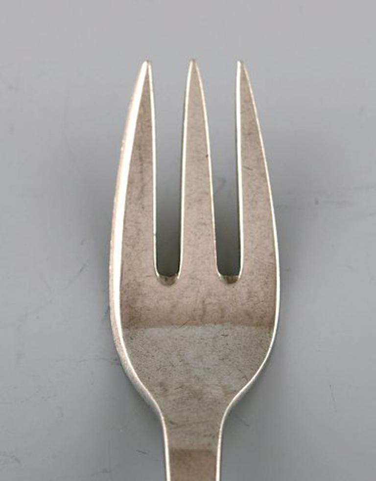 Art Nouveau Set of 12 Evald Nielsen Number 6 Cake Forks in All Silver, 1920s For Sale