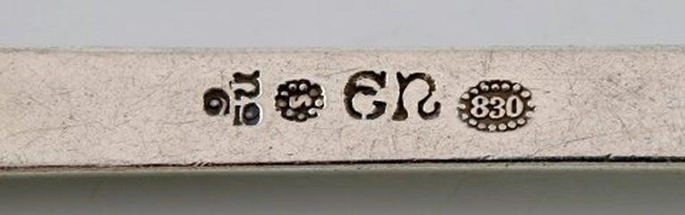 Danish Set of 12 Evald Nielsen Number 6 Cake Forks in All Silver, 1920s For Sale