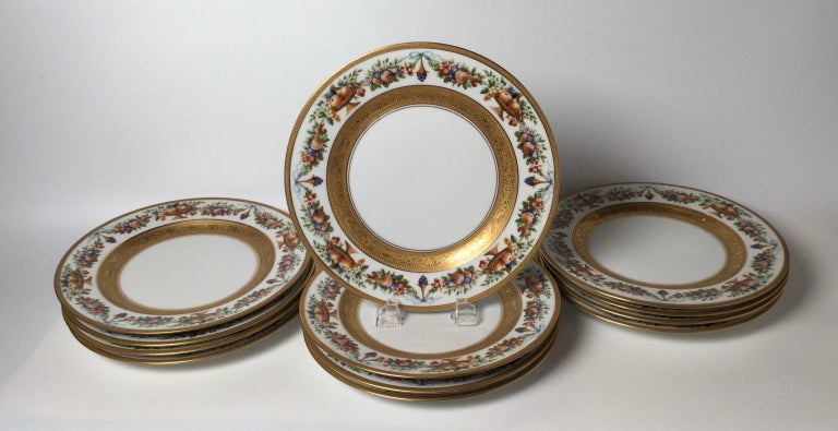 Mid-20th Century Set of 12 Gilt Banded Service Dinner Plates with Fruit Borders For Sale