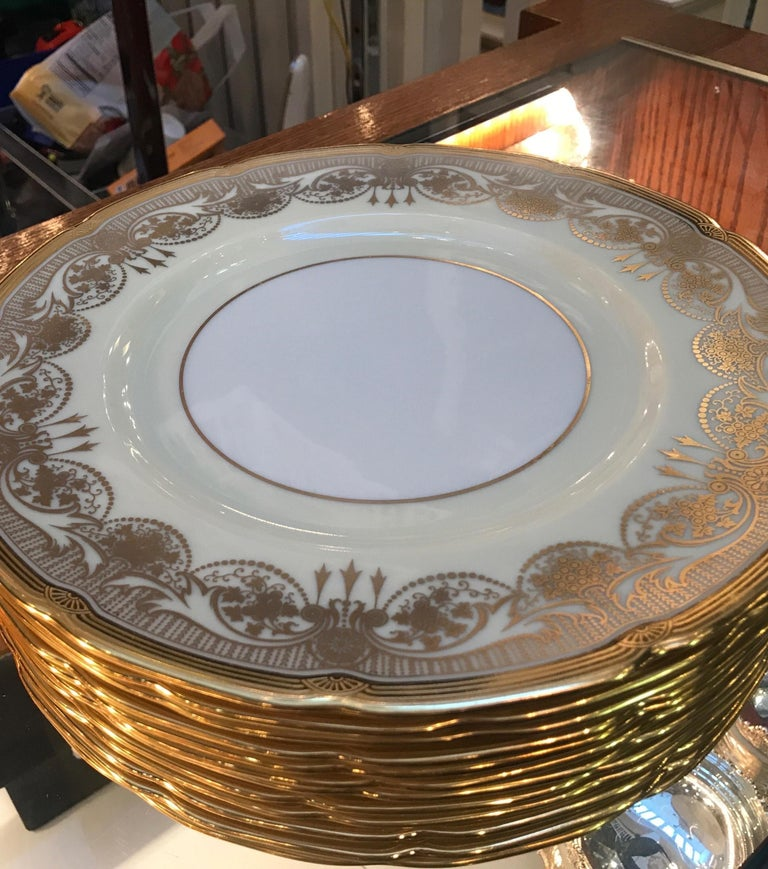 Mid-20th Century A Set of 12 Gold Encrusted Service Dinner Plates For Sale
