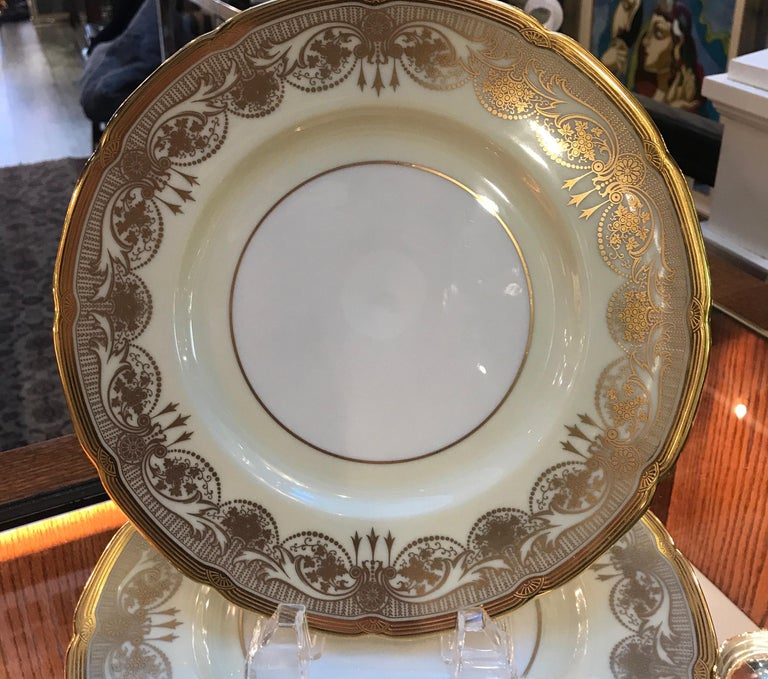 A Set of 12 Gold Encrusted Service Dinner Plates For Sale 3