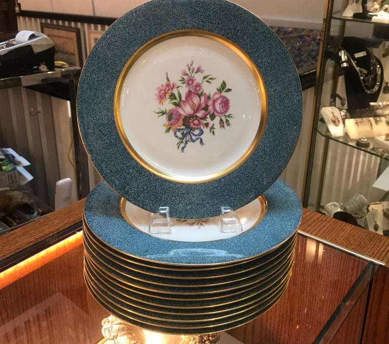 Set of 12 Theodore Haviland Service Dinner Plates For Sale 4