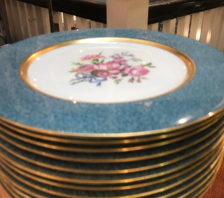 Set of 12 Theodore Haviland Service Dinner Plates For Sale 1