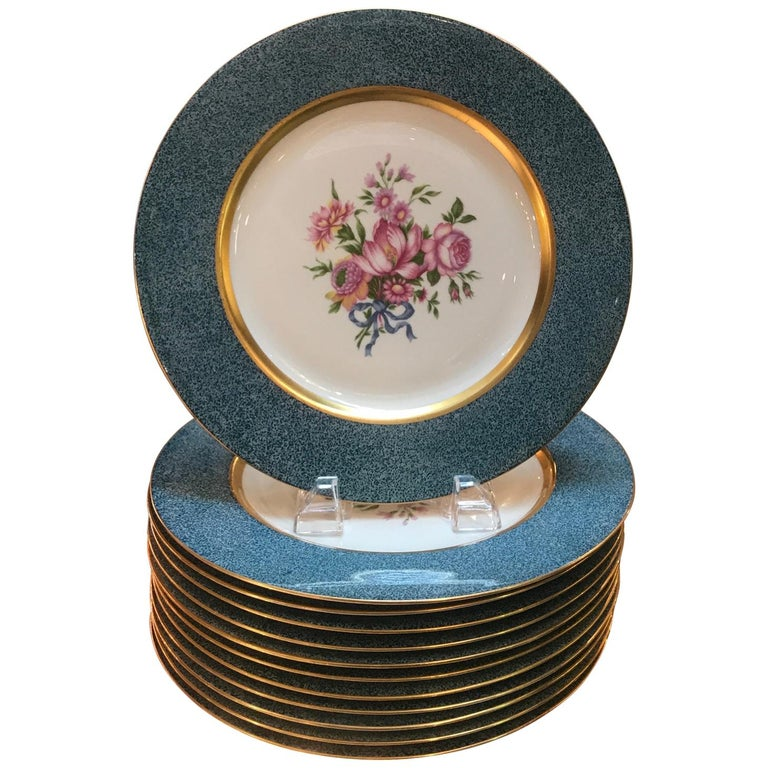 Set of 12 Theodore Haviland Service Dinner Plates For Sale